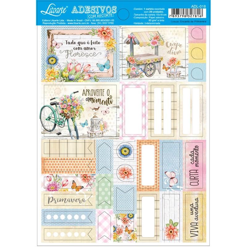 Cartela de Adesivos Encanto de Primavera ADL-018 - Litoarte