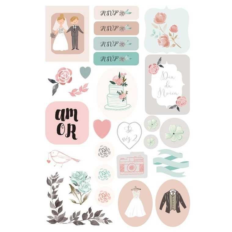 Cartela de Adesivos Felizes Para Sempre Dia dos Noivos - JuJu Scrapbook