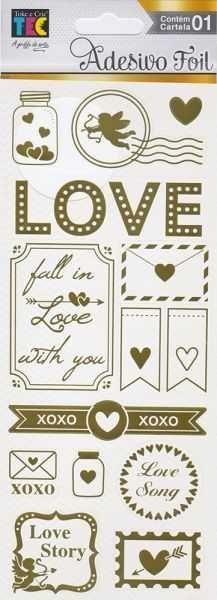 Cartela de Adesivos Foil Dourado Detalhes de Amor 19929 (AD1839) - Toke e Crie