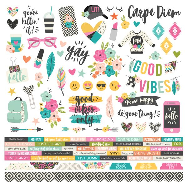 Cartela de Adesivos Good Vibes - Simple Stories