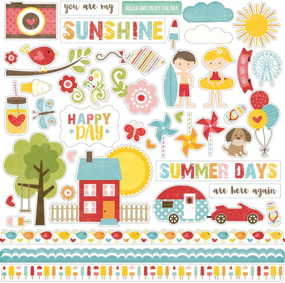 Cartela de Adesivos Happy Summer - Echo Park