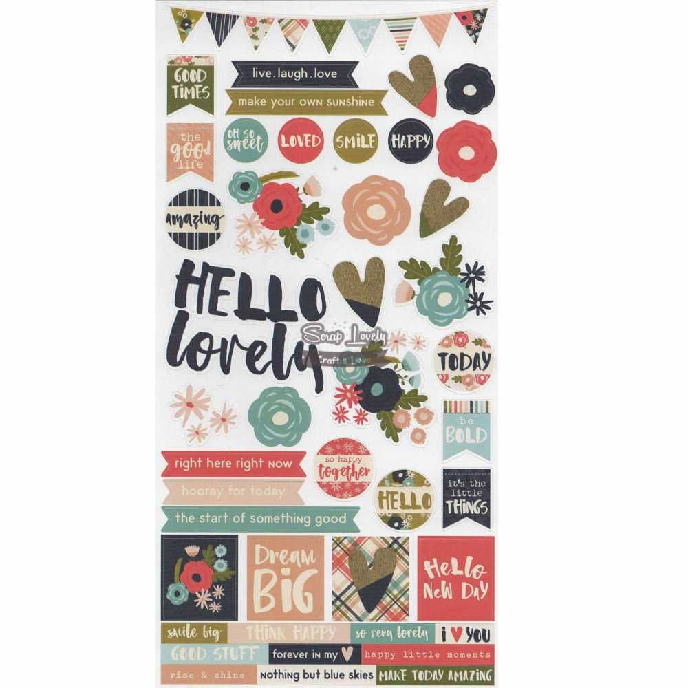 Cartela de Adesivos Hello Lovely - Simple Stories