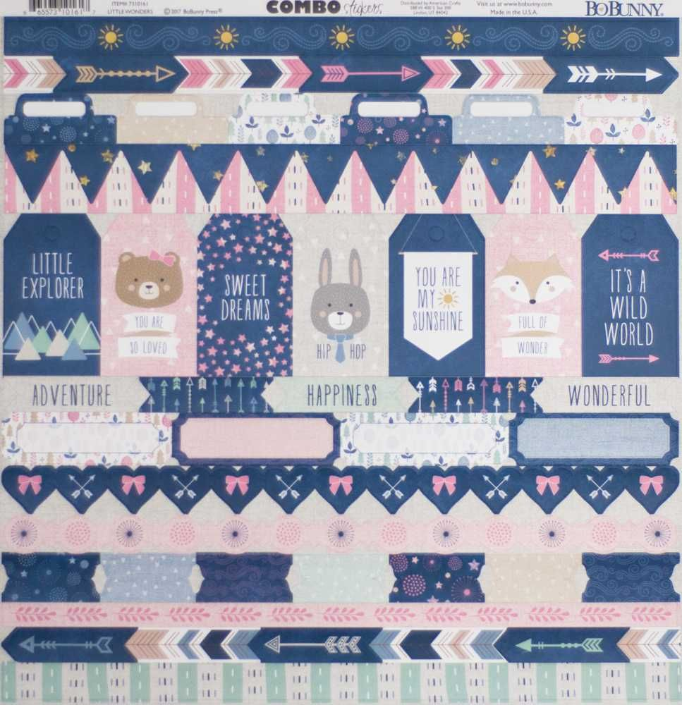 Cartela de Adesivos Little Wonders - Bo Bunny