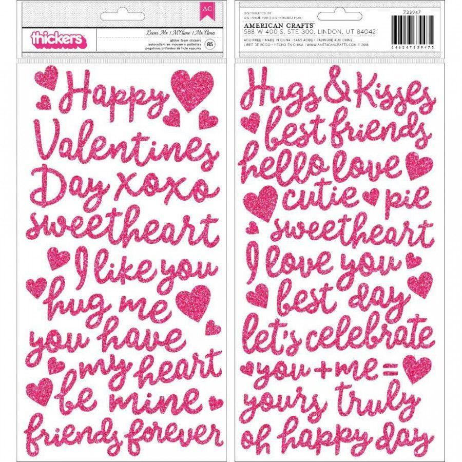 Cartela de Adesivos Loves Me Palavras em EVA com Glitter - American Crafts
