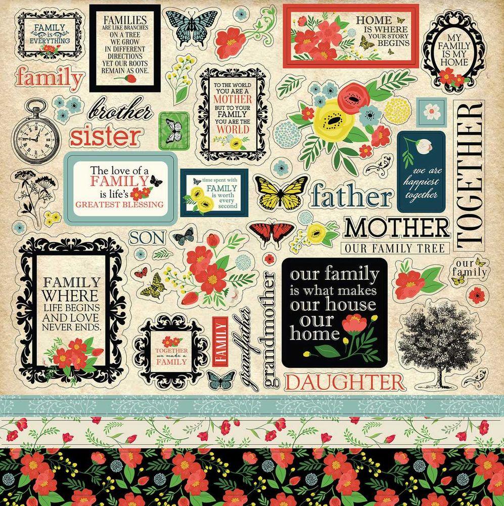 Cartela de Adesivos Our Family - Carta Bella
