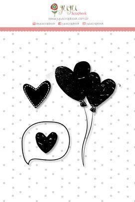 Cartela de Carimbos de Silicone Abraço de Urso Corações - JuJu Scrapbook
