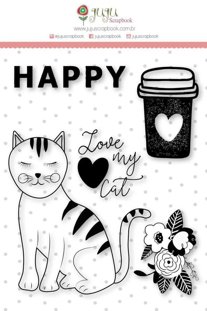 Cartela de Carimbos de Silicone Amizade é Tudo Love My Cat G - JuJu Scrapbook