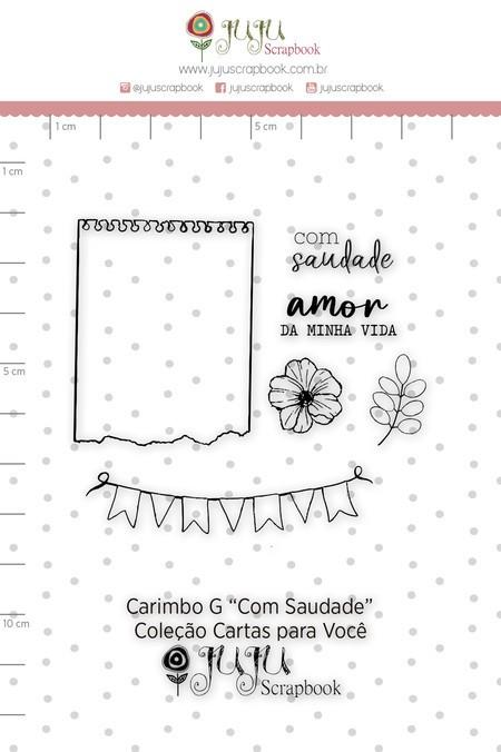Cartela de Carimbos de Silicone Cartas para Você G Com Saudade - Juju Scrapbook