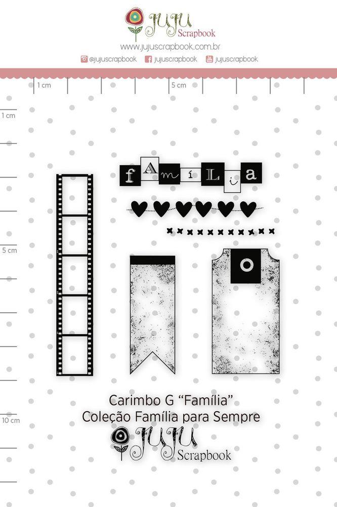 Cartela de Carimbos de Silicone  Família para Sempre G Família - Juju Scrapbook
