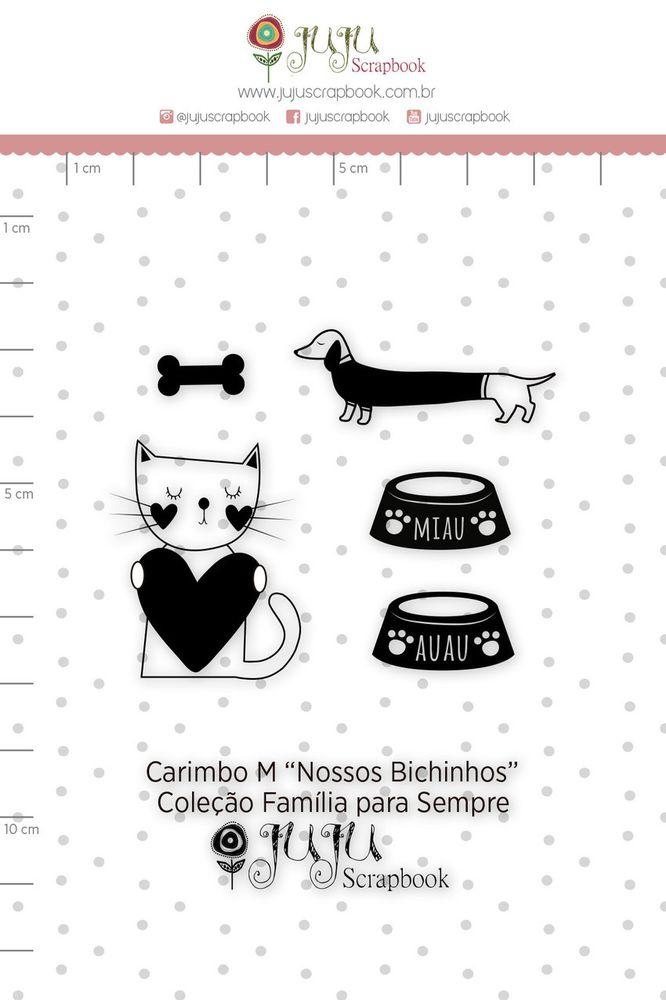 Cartela de Carimbos de Silicone  Família para Sempre M Nossos Bichinhos - Juju Scrapbook