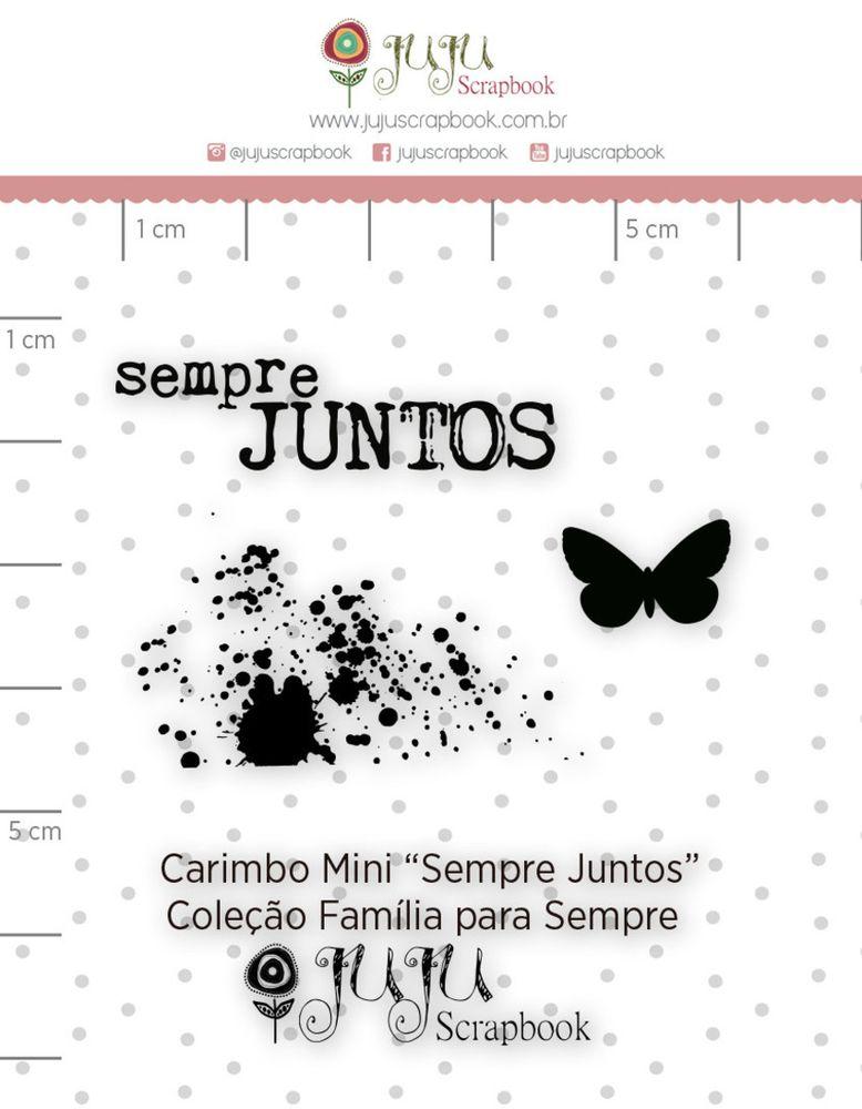 Cartela de Carimbos de Silicone  Família para Sempre Mini Sempre Juntos - Juju Scrapbook