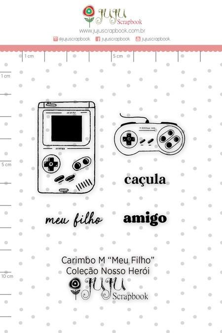 Cartela de Carimbos de Silicone Nosso Herói M Meu Filho - Juju Scrapbook