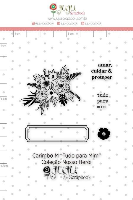 Cartela de Carimbos de Silicone Nosso Herói M Tudo Pra Mim - Juju Scrapbook