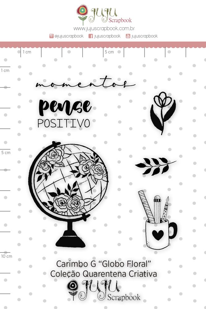 Cartela de Carimbos de Silicone Quarentena Criativa G Globo Floral - Juju Scrapbook