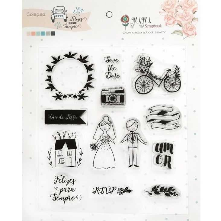 Cartela de Carimbos de Silicone Save The Date - JuJu Scrapbook