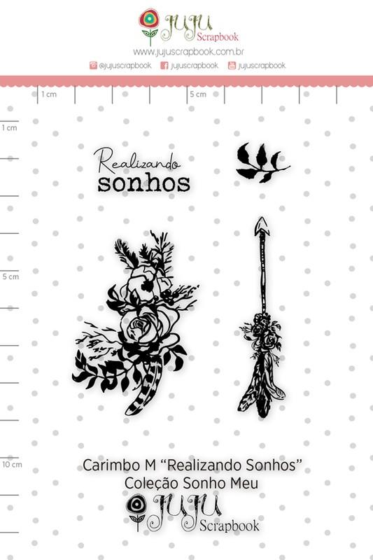 Cartela de Carimbos de Silicone Sonho Meu M Realizando Sonhos - Juju Scrapbook