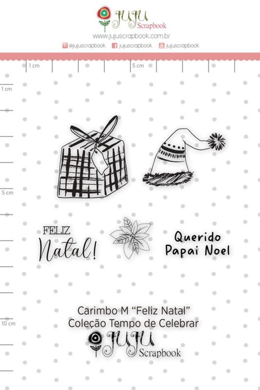 Cartela de Carimbos de Silicone Tempo de Celebrar M Feliz Natal - Juju Scrapbook