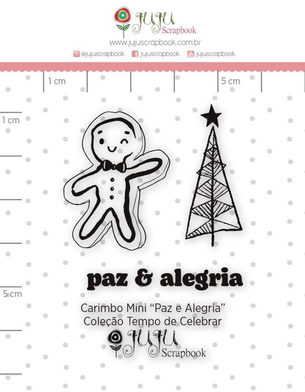 Cartela de Carimbos de Silicone Tempo de Celebrar Mini Paz e Alegria - Juju Scrapbook