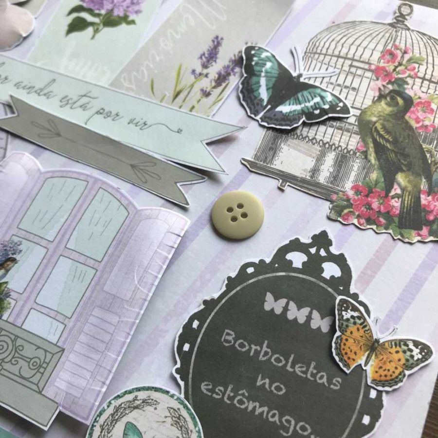 Curso Scrapbook de Página Dupla Botânica Vintage by Mari Ponciano