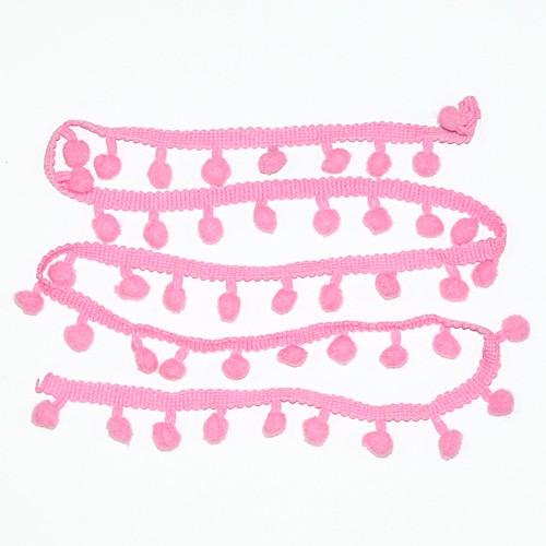 Fita Grelot (Pompom) Poliéster Rosa 1m - Newz