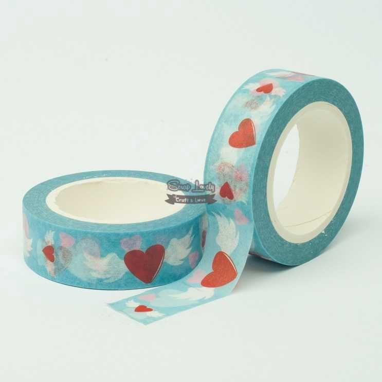 Fita Scrapbook Washi Tape Azul Coração Alado 10m - Scrap Lovely