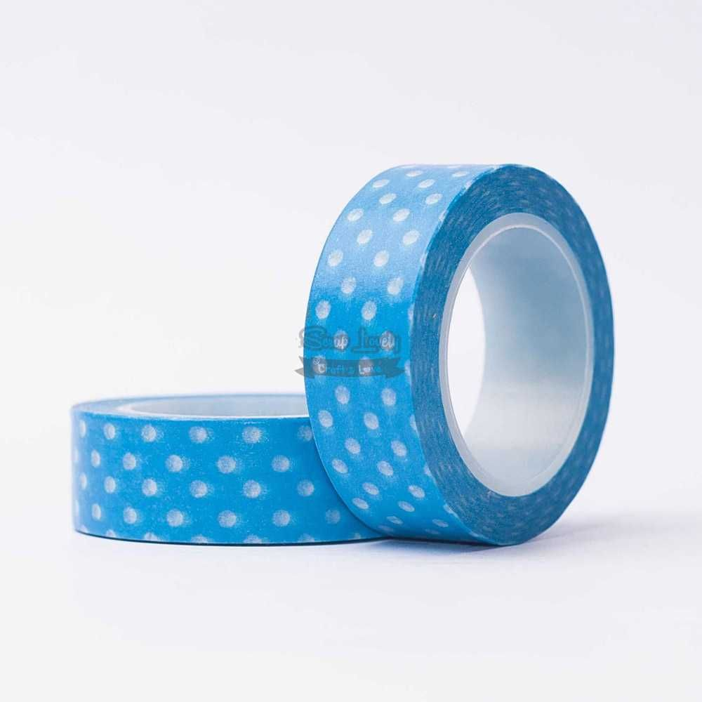 Fita Scrapbook Washi Tape Azul Poá Branco 10m - Scrap Lovely