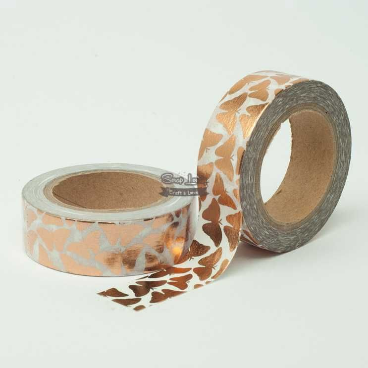 Fita Scrapbook Washi Tape Branco Borboleta Foil Bronze 10m - Scrap Lovely