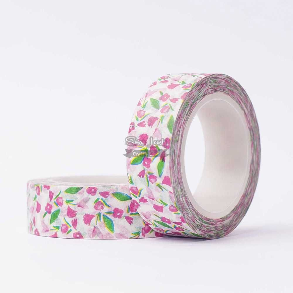 Fita Scrapbook Washi Tape Branco com Florzinha Rosa e Verde 10m - Scrap Lovely