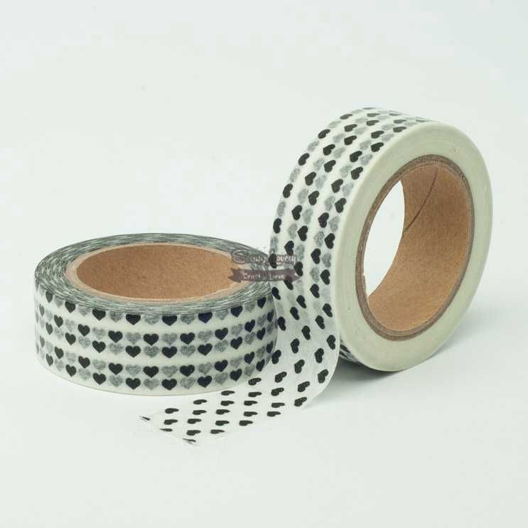 Fita Scrapbook Washi Tape Branco Coração Preto 10m - Scrap Lovely