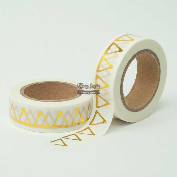 Fita Scrapbook Washi Tape Branco Foil Bandeirola Dourado 10m - Scrap Lovely