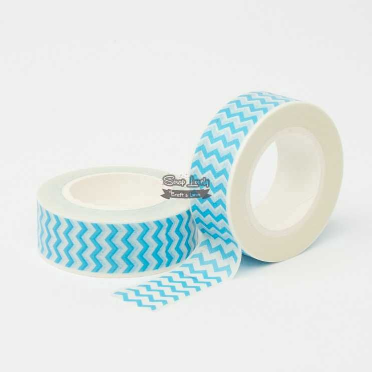 Fita Scrapbook Washi Tape Chevron Azul 10m - Scrap Lovely