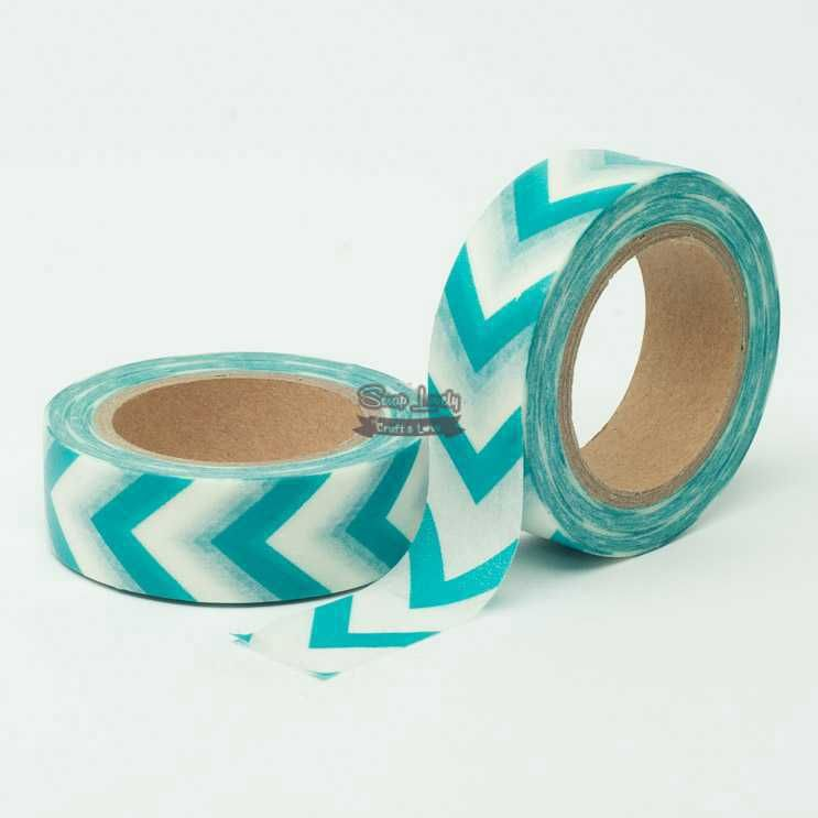 Fita Scrapbook Washi Tape Chevron Azul e Branco 10m - Scrap Lovely