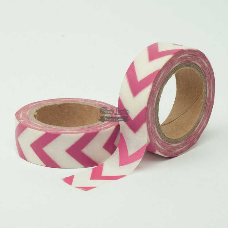 Fita Scrapbook Washi Tape Chevron Rosa e Branco 01 10m - Scrap Lovely