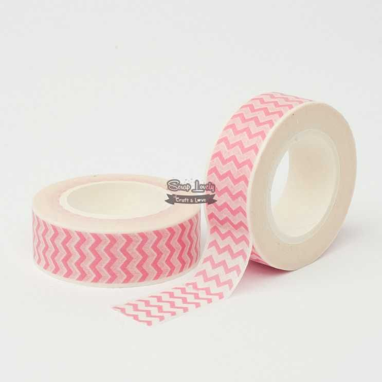 Fita Scrapbook Washi Tape Chevron Rosa e Branco 02 10m - Scrap Lovely