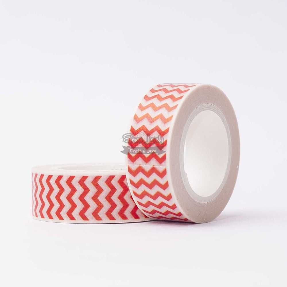 Fita Scrapbook Washi Tape Chevron Vermelho 10m - Scrap Lovely