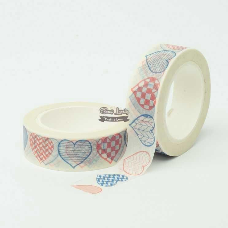 Fita Scrapbook Washi Tape Corações Riscados 10m - Scrap Lovely