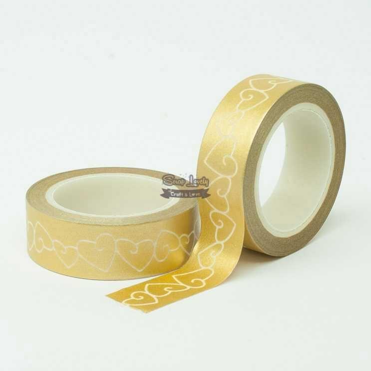 Fita Scrapbook Washi Tape Dourado com Coração Branco 10m - Scrap Lovely