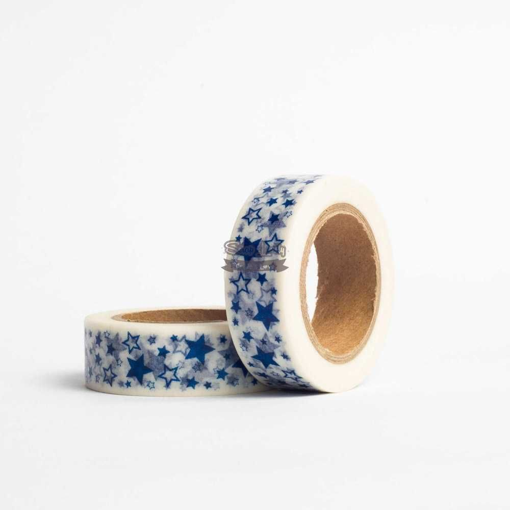 Fita Scrapbook Washi Tape Estrela Azul 10m - Scrap Lovely
