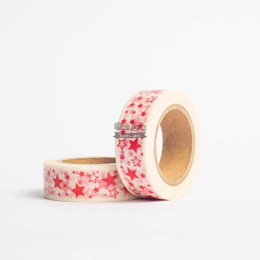 Fita Scrapbook Washi Tape Estrela Vermelha 10m - Scrap Lovely