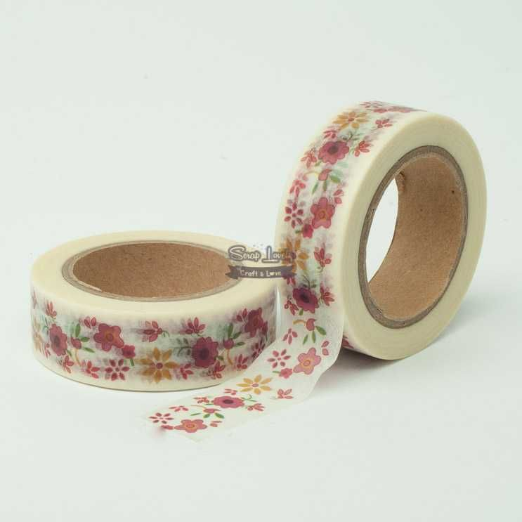 Fita Scrapbook Washi Tape Flores 01 10m - Scrap Lovely