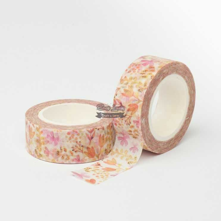 Fita Scrapbook Washi Tape Flores 02 10m - Scrap Lovely