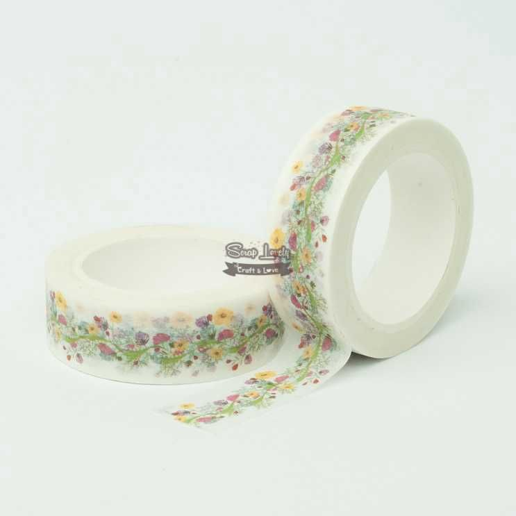 Fita Scrapbook Washi Tape Flores 03 10m - Scrap Lovely