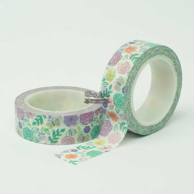 Fita Scrapbook Washi Tape Flores 08 10m - Scrap Lovely