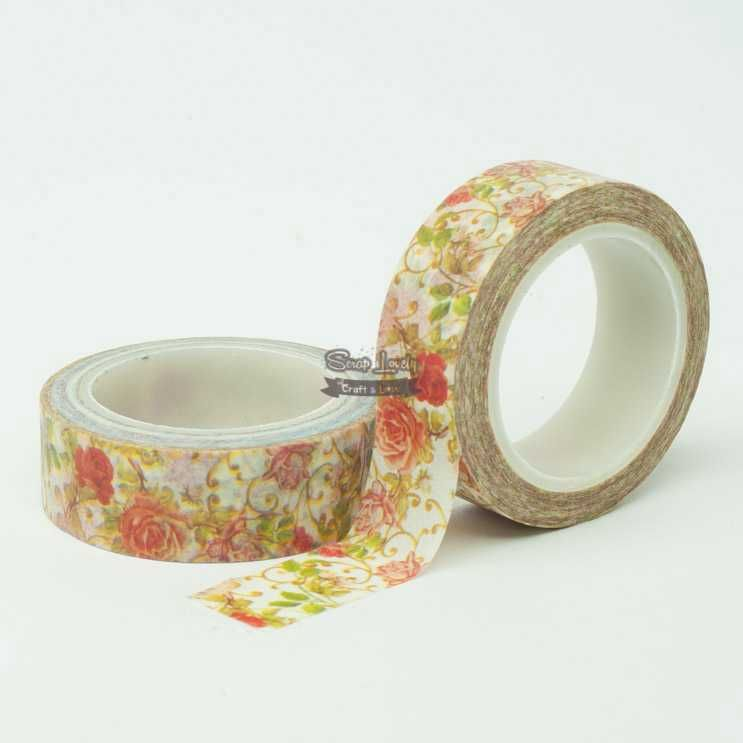 Fita Scrapbook Washi Tape Flores 11 10m - Scrap Lovely