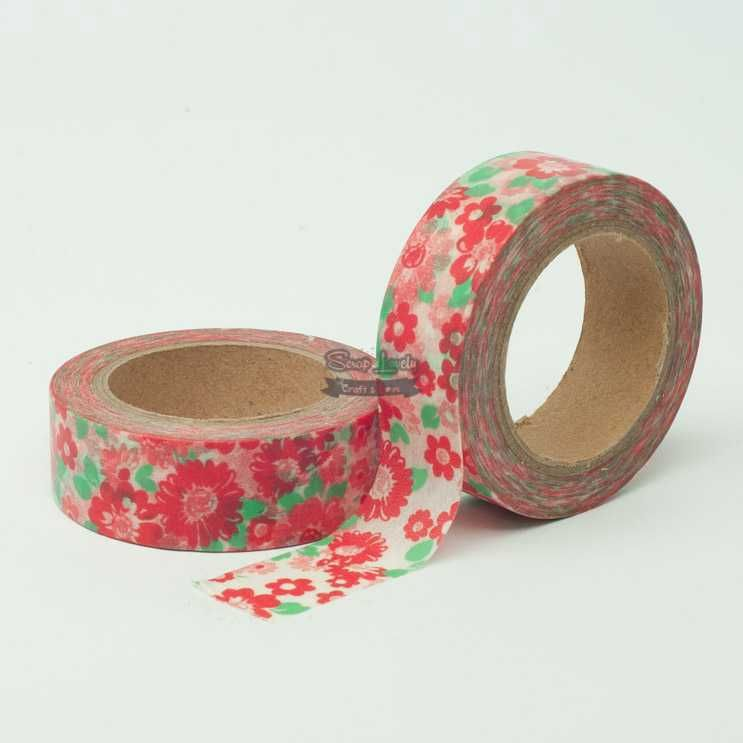 Fita Scrapbook Washi Tape Flores 12 10m - Scrap Lovely