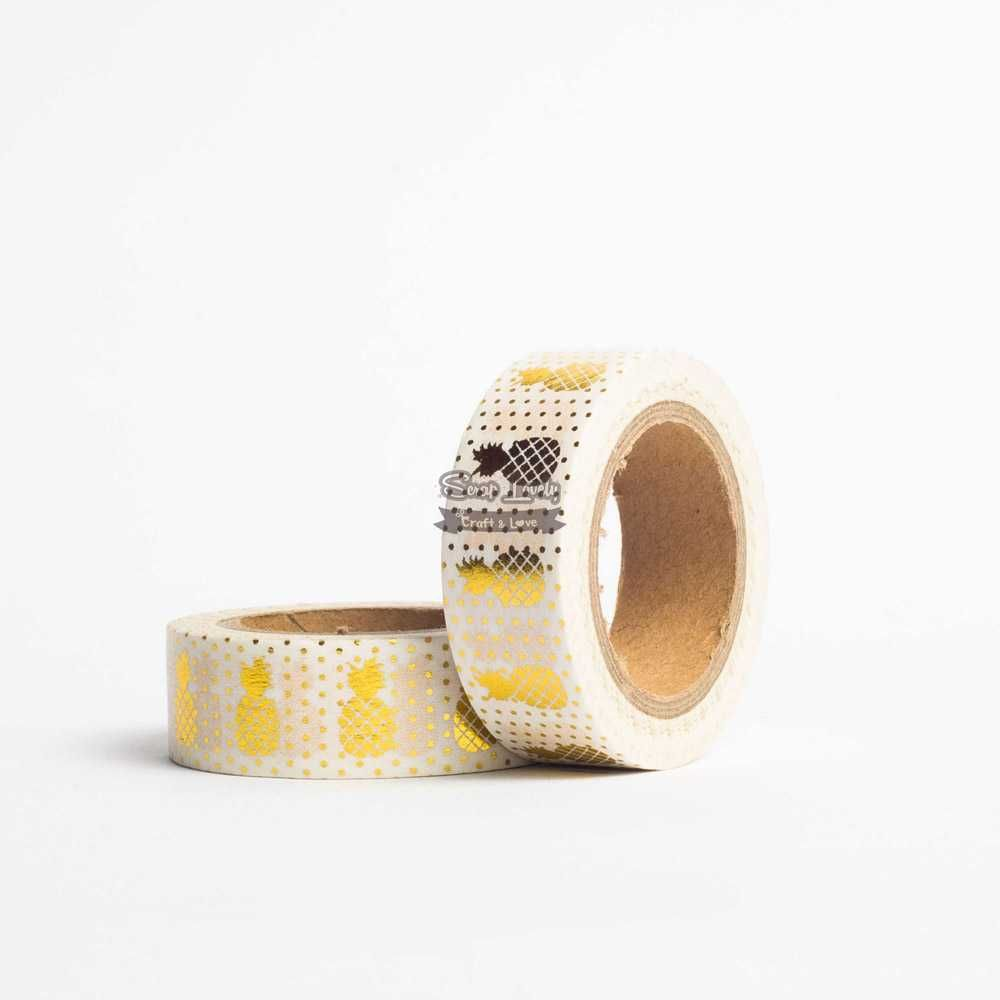 Fita Scrapbook Washi Tape Foil Abacaxi Dourado 10m - Scrap Lovely