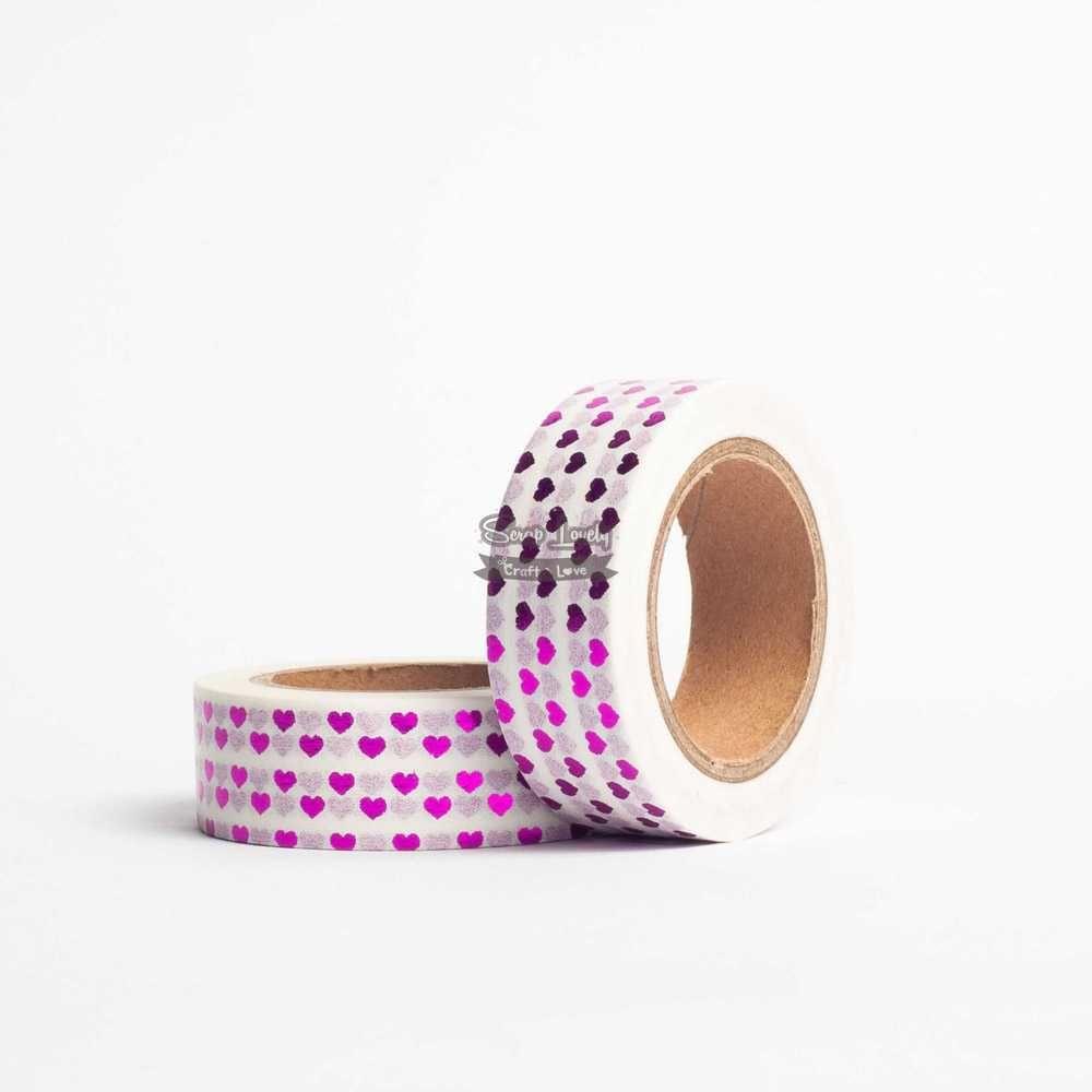 Fita Scrapbook Washi Tape Foil Coração Rosa 10m - Scrap Lovely