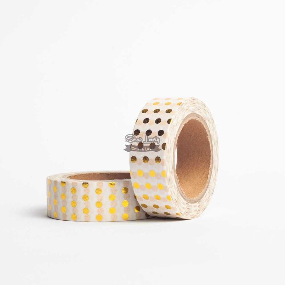 Fita Scrapbook Washi Tape Foil Poá Dourado 10m - Scrap Lovely