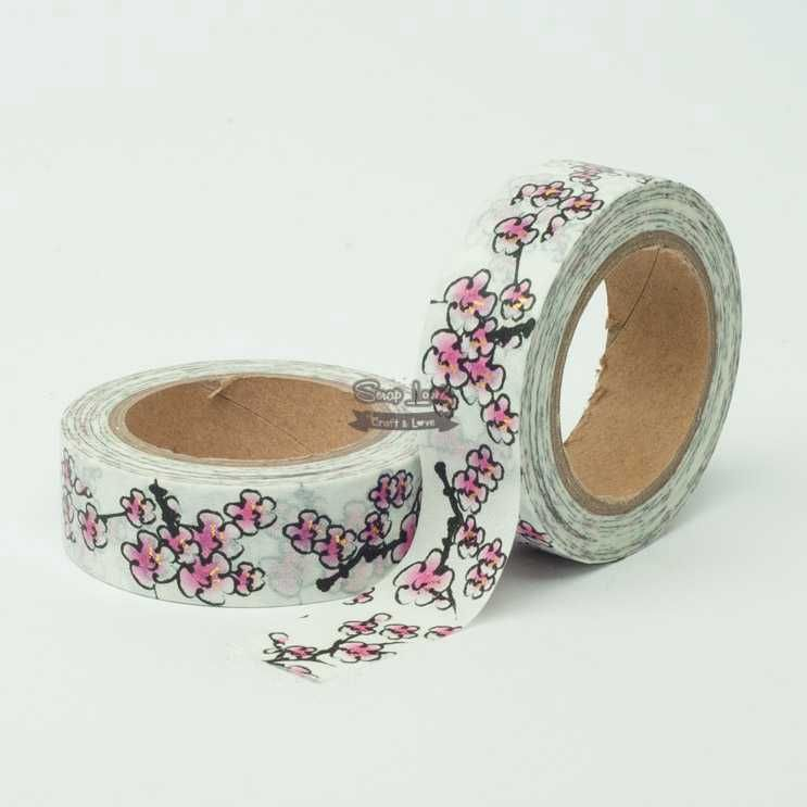 Fita Scrapbook Washi Tape Galhos e Flores 02 10m - Scrap Lovely