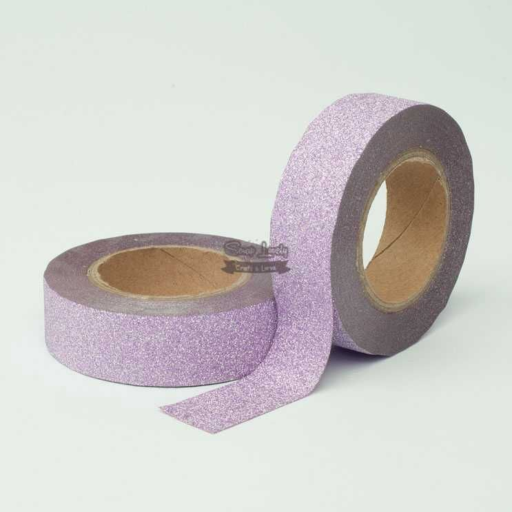 Fita Scrapbook Washi Tape Glitter Lilás 10m - Scrap Lovely